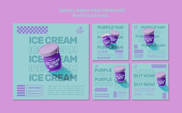Pastel-ijs social media posts-sjabloon Gratis Psd