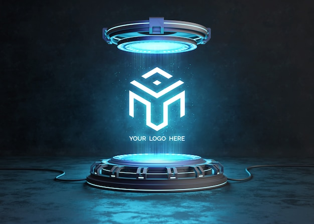Pedestal futurista para maqueta de logotipo. PSD Premium
