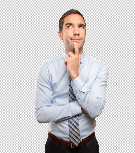 Pensive giovane uomo d'affari in posa Psd Premium