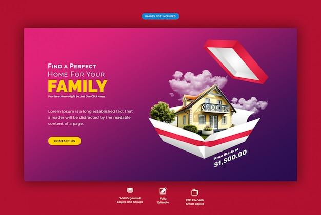 Perfect huis voor verkoop websjabloon voor spandoek Premium Psd
