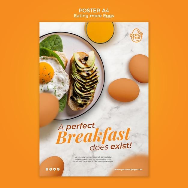 Perfect ontbijt met eieren poster sjabloon Gratis Psd