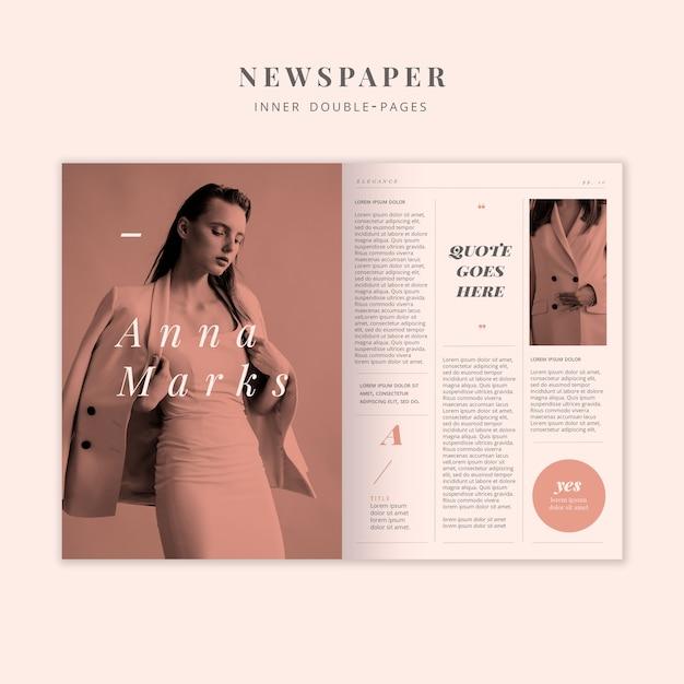 Periódico de moda modelo doble página interior PSD gratuito