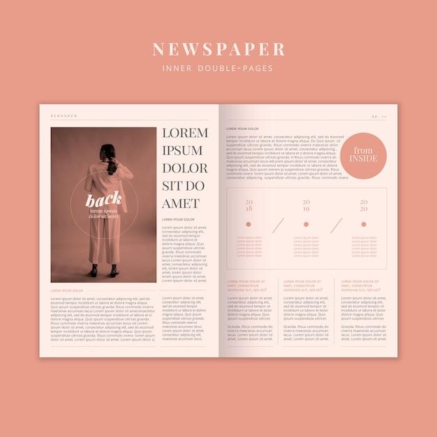 Periódico de moda con modelo de mujer PSD gratuito