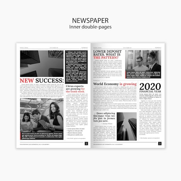 Periódicos interiores de dos páginas e historias interesantes. PSD gratuito