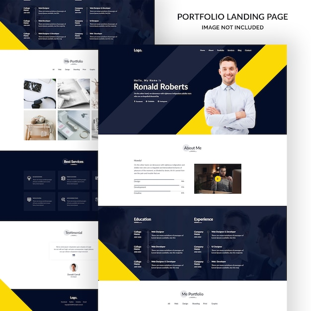 Persoonlijke portfoliopagina Premium Psd