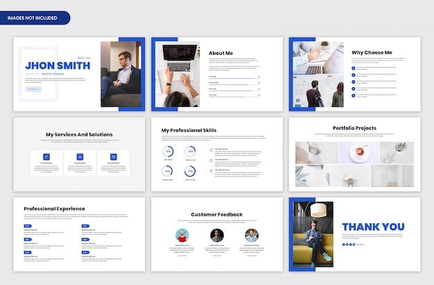 Persoonlijke portfoliopresentatie en schuifbalksjabloon voor projectoverzicht Premium Psd