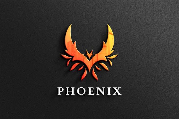 Phoenix logo mockup in zwart papier met reflectie Premium Psd