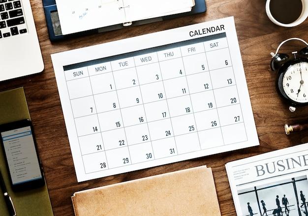 Piatto piano di agenda aziendale Psd Gratuite