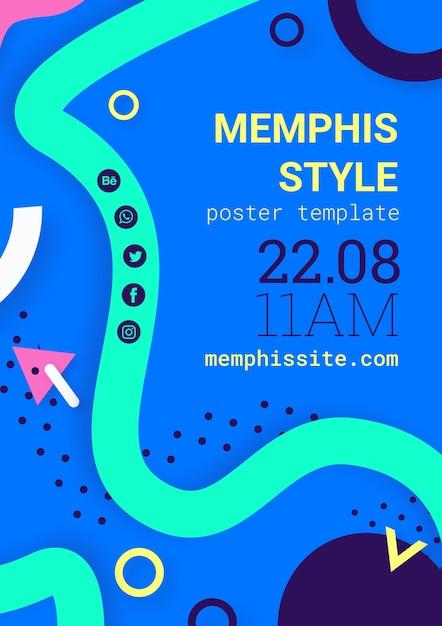 Piatto poster di stile memphis blu Psd Gratuite