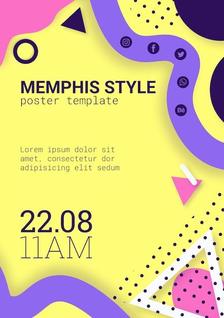 Piatto poster di stile memphis giallo Psd Gratuite