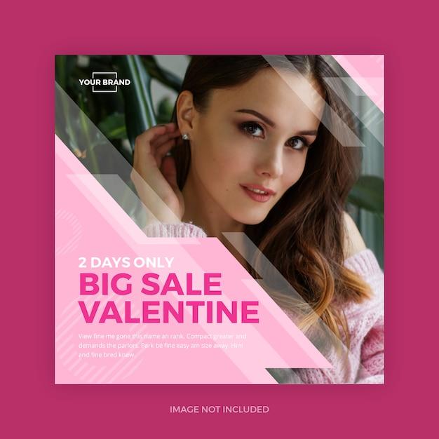 Pink valentine instagram promo redes sociales PSD Premium
