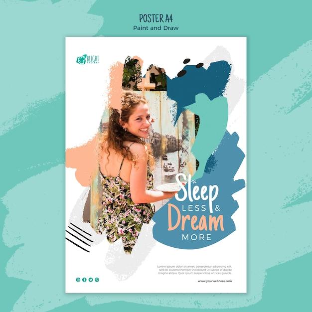 Pintar y dibujar diseño de póster PSD gratuito
