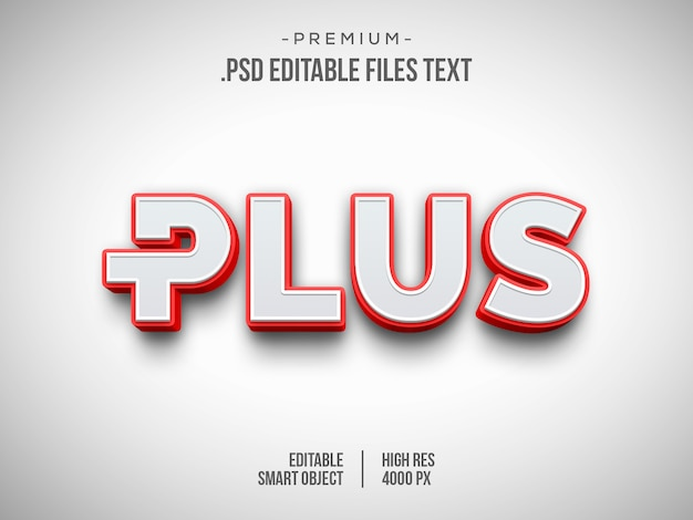 Più effetto testo 3d, effetto stile testo bianco rosso 3d Psd Premium