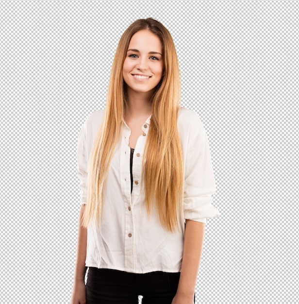 Piuttosto giovane donna in piedi Psd Premium