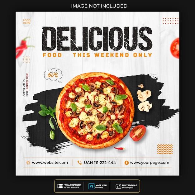 Pizza eten sociale media post sjabloon voor spandoek Gratis Psd