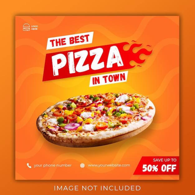 Pizza menu promotie sociale media instagram sjabloon voor postbanner Premium Psd