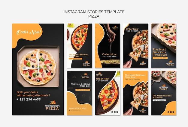 Pizza de plantilla de historias de instagram PSD gratuito