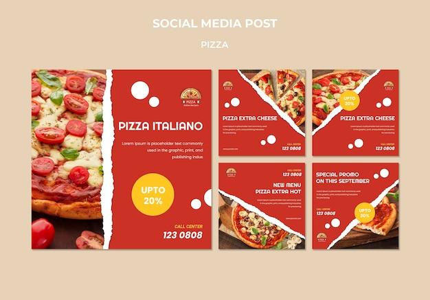 Pizza restaurant sociale media post sjabloon Gratis Psd