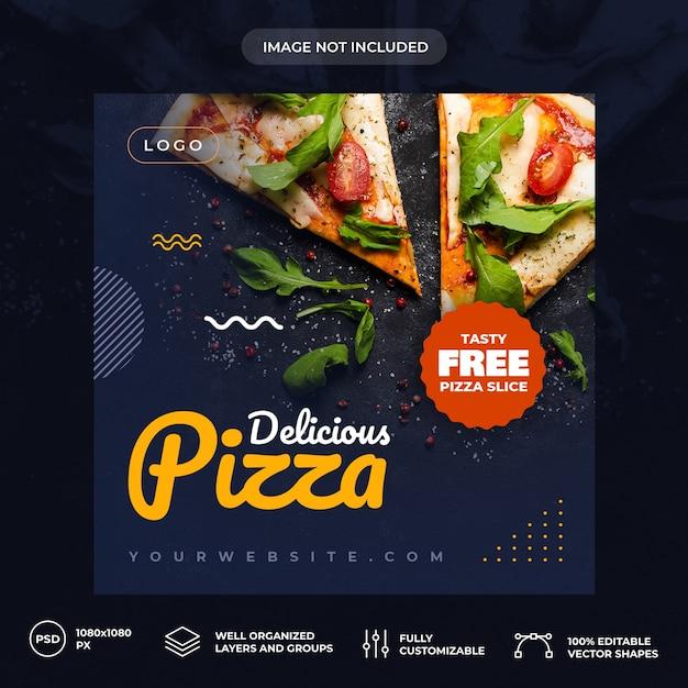 Pizza sociale media sjabloon voor spandoek Premium Psd