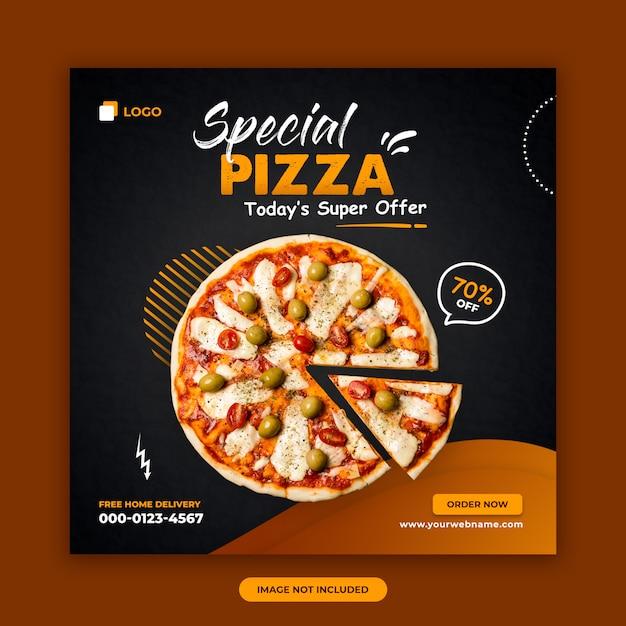 Pizza verkoop sociale media post banner ontwerpsjabloon Premium Psd