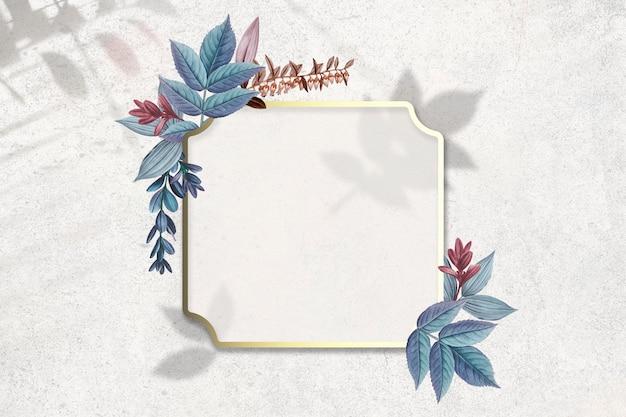 Placa decorada con hojas. PSD gratuito