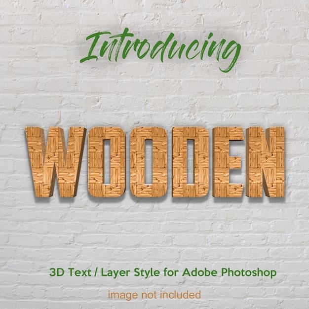 Plancia di legno di legno 3d effetti di testo di stile di livello strutturato photoshop Psd Premium