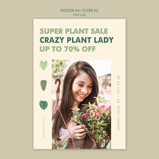 Plant dame concept flyer ontwerp Gratis Psd