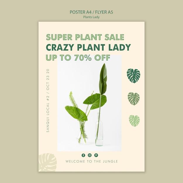 Plant dame concept posterontwerp Gratis Psd