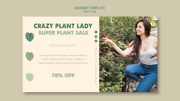 Plant dame sjabloon voor spandoekontwerp Gratis Psd
