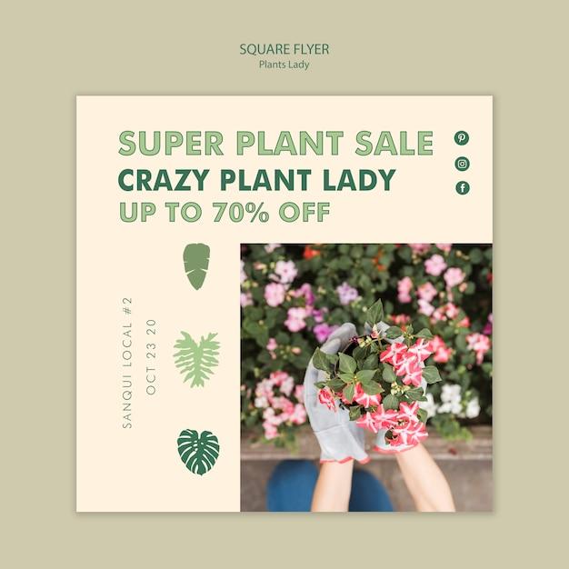 Plant dame vierkante flyer stijl Gratis Psd