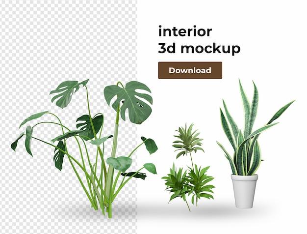 Plant in potdecoratie voor thuis in 3d-rendering Premium Psd