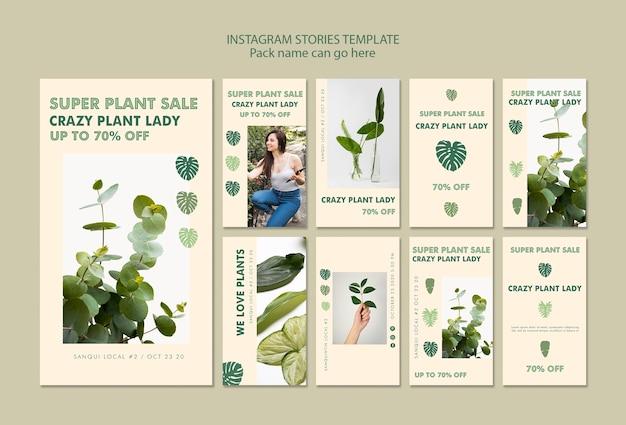Plant lady concept instagram verhalen Gratis Psd