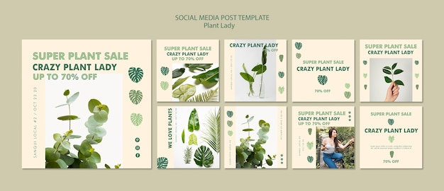 Plant lady social media post Gratis Psd