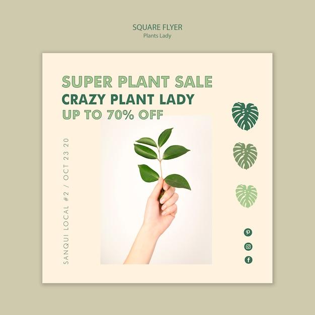 Plant lady vierkante flyer Gratis Psd