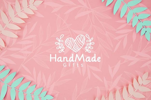 Plantas de papel rosa y azul fondo hecho a mano PSD gratuito