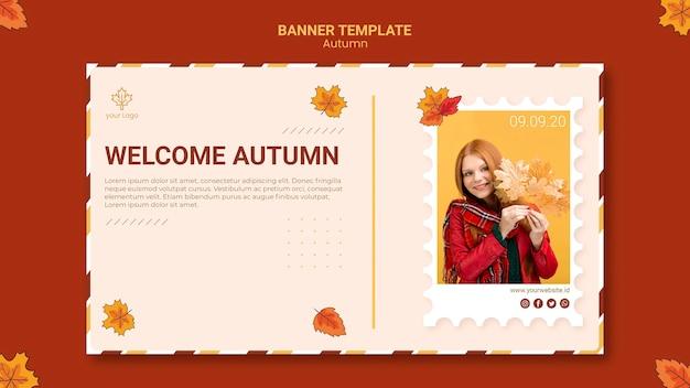 Plantilla de banner de anuncio de otoño PSD gratuito