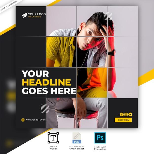 Plantilla de banner de anuncio de redes sociales cuadrado de venta de moda PSD Premium