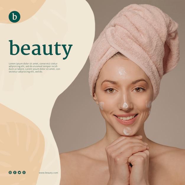 Plantilla de banner de belleza con una mujer PSD gratuito