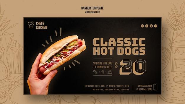 Plantilla de banner de comida americana PSD gratuito