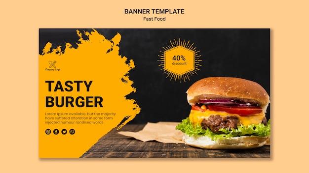 Plantilla de banner de comida rápida PSD Premium