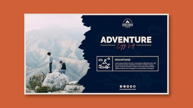 Plantilla de banner con concepto de aventura PSD gratuito