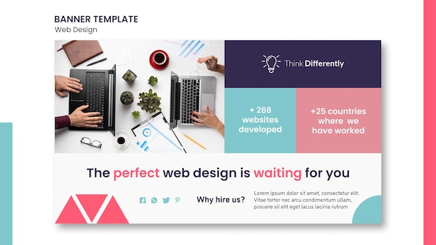 Plantilla de banner de concepto de diseño web PSD gratuito