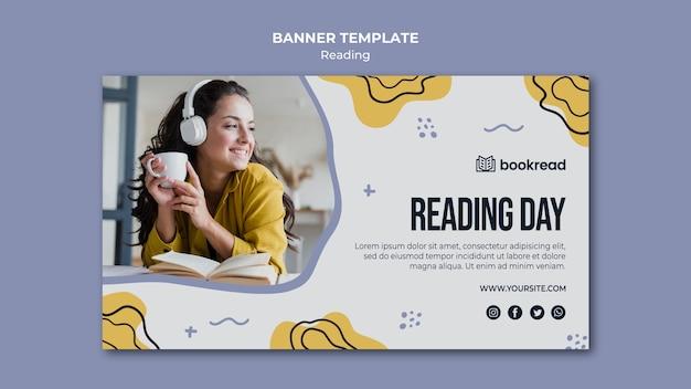 Plantilla de banner de concepto de lectura PSD gratuito