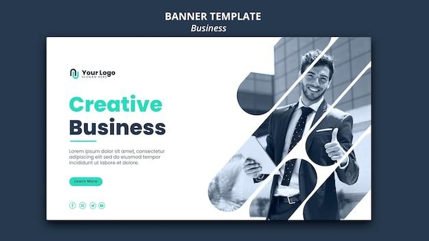 Plantilla de banner de concepto de negocio PSD gratuito