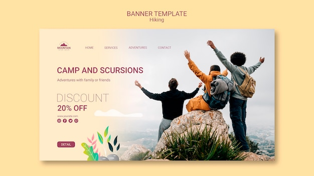 Plantilla de banner de concepto de senderismo PSD gratuito
