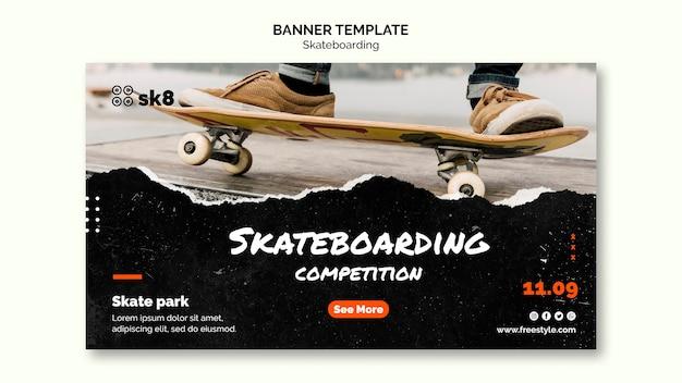 Plantilla de banner de concepto de skateboard PSD gratuito