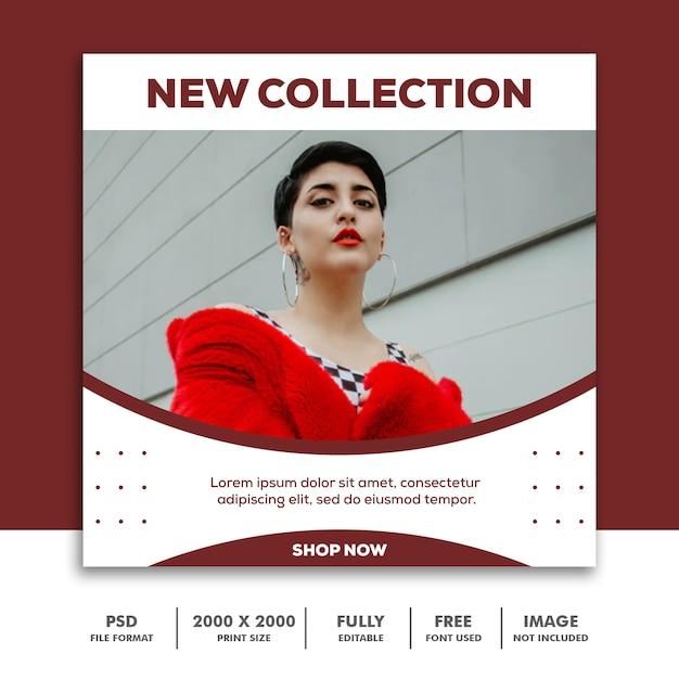 Plantilla de banner cuadrado, colección beautiful girl fashion model rojo PSD Premium