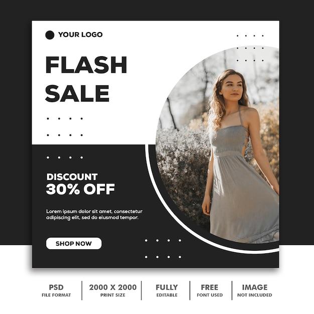 Plantilla de banner cuadrado, hermosa chica modelo de moda elegante simple negro PSD Premium