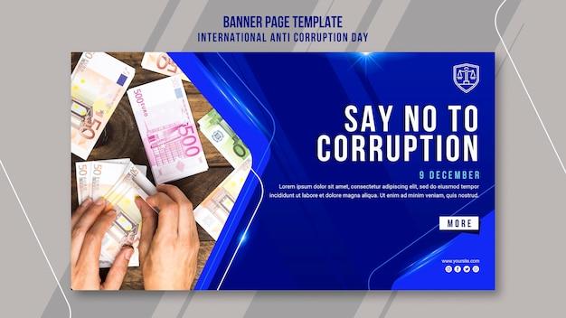 Plantilla de banner del día contra la corrupción PSD gratuito