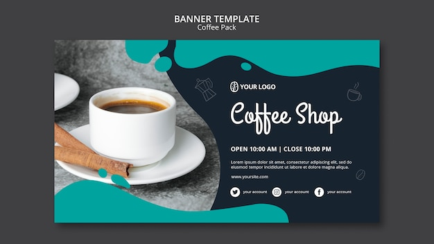 Plantilla de banner con diseño de café PSD gratuito